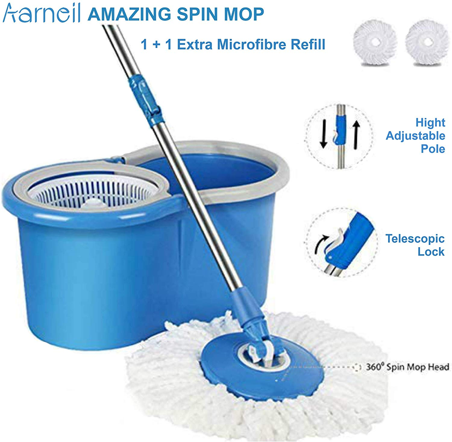 Aarneil 360 Spin Mop Bucket with Plastic Basket with 2 Refill Bucket with Wheel to Easy Moving