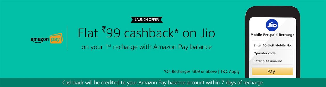 Amazon - Jio Prepaid Recharge Rs.99 Cashback on Rs.309 ,Mobile Recharge 100% Cashback upto Rs. 50