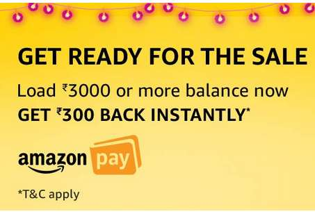 Amazon - Load Rs.3000 & Get Rs.300 Free in AmazonPay Account
