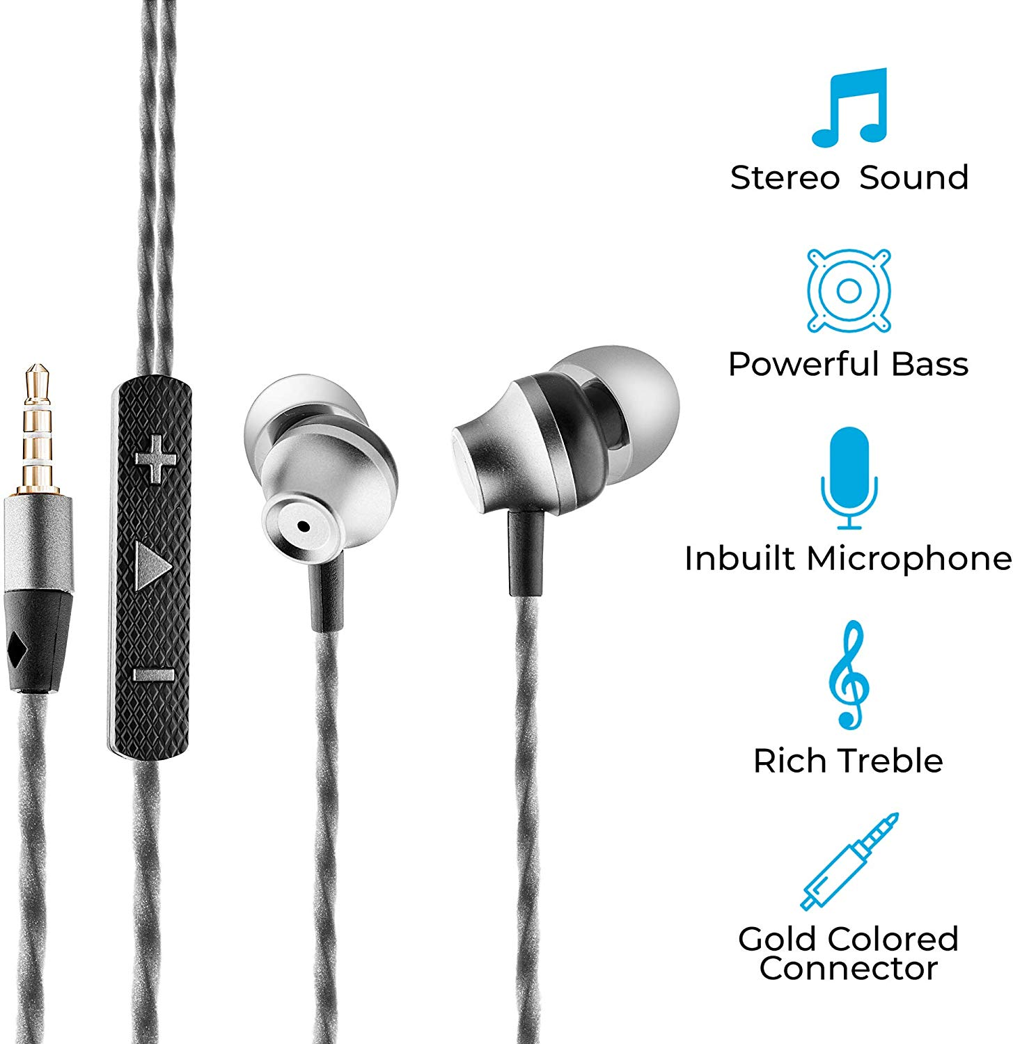 Ambrane EP-60 in-Ear Metal Headphones with Mic