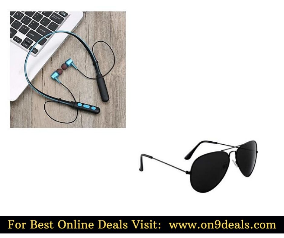 Bluetooth Neckband Wireless Earphone + Aviator Black Sunglasses @ Rs.395 Or Less