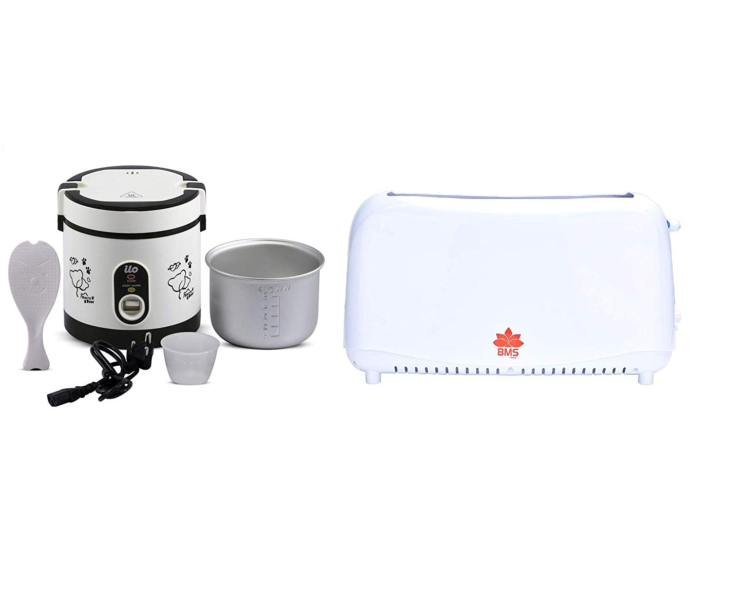 BMS Lifestyle Kitchen Combo of Electric Rice Cooker and Two Slice Toasters