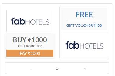 Buy Rs.1000 FabHotels Gift Voucher & Get Rs.400 Extra Voucher For Free