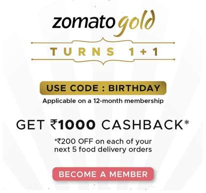 Buy Zomato Gold 12 month Membership & Get Rs.1000 Discount