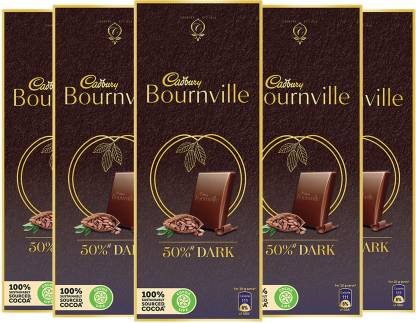 Cadbury Bournville 50% Cocoa Dark Chocolate Bar 80 g (Pack of 5)