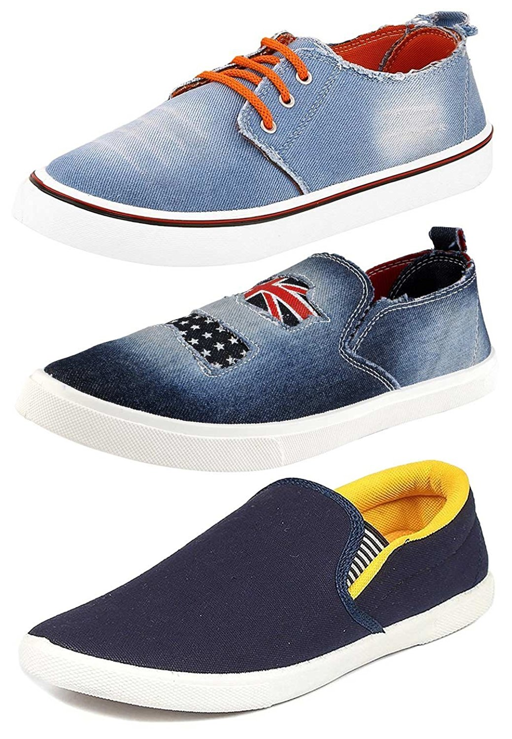 Chevit Men's Denim Combo Pack of 3 Blue Loafers and Sneakers Shoes