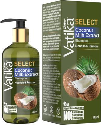 Dabur Vatika Select Coconut Milk Extract Shampoo Nourish & Restore No Parabens 300 ml