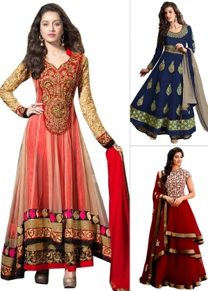 Designer & Embroidered Semi Stitched Salwar Suit by 1Stop Fashion