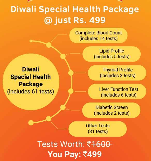 Diwali Special Health Check 61 Tests Worth Rs.1600 @ Rs,450