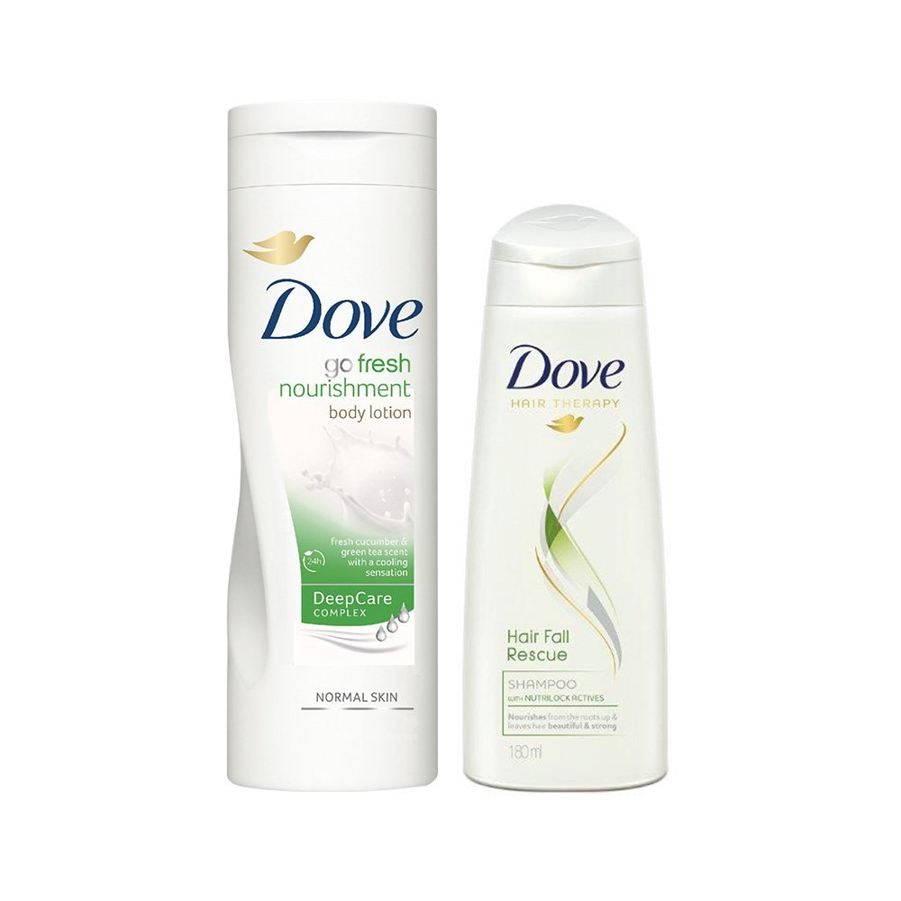 Dove Go Fresh Body Lotion, 400ml with Free Dove Hair Fall Rescue Shampoo, 180ml