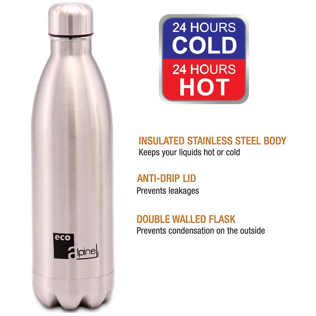 Eco Alpine Stainless Steel Hot and Cold Thermoflask Bottle - 1000 Ml