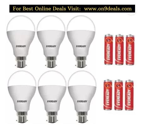 Eveready 10 W Round B22 LED Bulb  (White, Pack of 6)