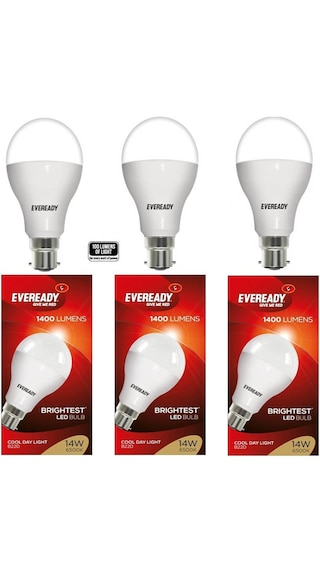 Eveready Cool Day Light LED Bulbs 14 Watt - Pack Of 3 With 50% Cashback