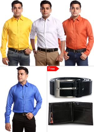 Exclusive Pack of 4 Shirts + Belt & Wallet - US Adventure Classic