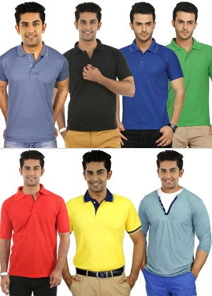 Fidato Men's Henley & Polo T-shirt Combo- Set of 7
