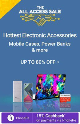Flipkart All Access Sale – Computers, Mobiles Accessories upto 60% off + 25% Cashback Via Phonepe