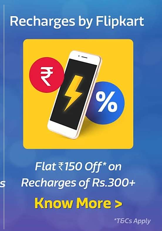 Flipkart App - Flat Rs.150 Discount On Recharge of Rs.300