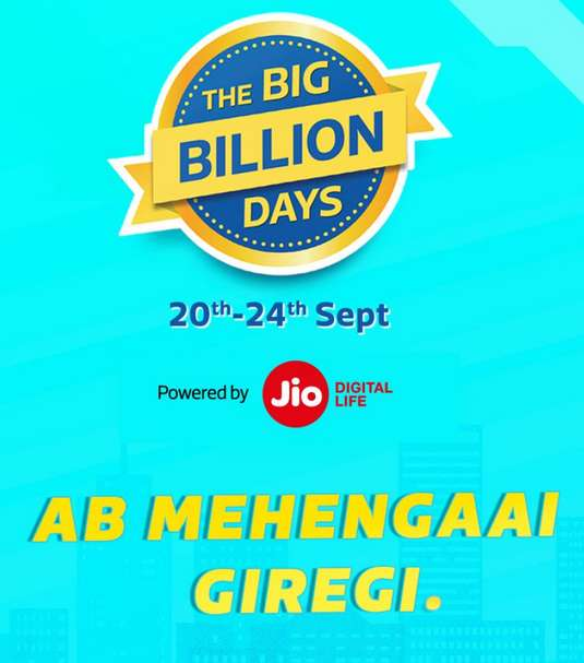 Flipkart - The Big Billion Days 20th- 24th September 2017 + 10% Instant Discount With SBICards