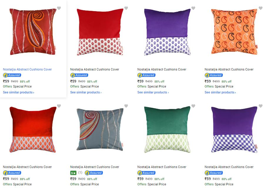 Flipkart - Cushion Covers Only Rs.59