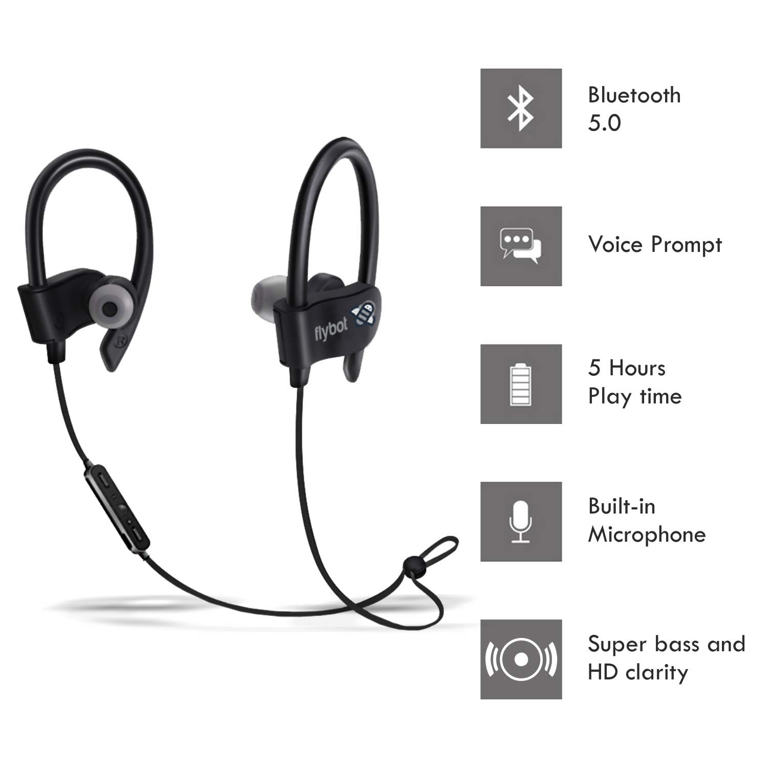 Flybot Wave in-Ear Sport Wireless Bluetooth 5.0 Earphone with Mic and IPX4 Sweatproof