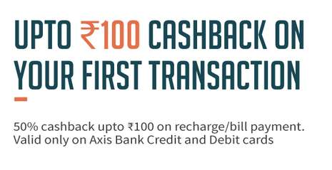 Freecharge  - Axis Cards 1st Recharge & Bill Payment 50% Cashback Upto Rs.100