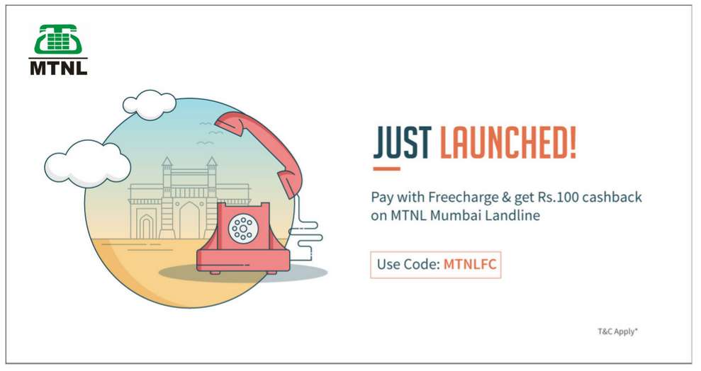 Freecharge - Flat Rs.100 Cashback on Mumbai MTNL Landline Bill Payment.No Minimum Required