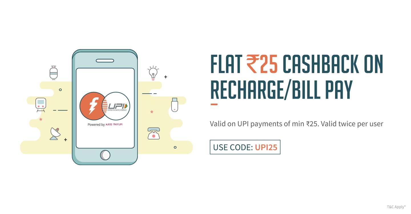 FreeCharge - Flat Rs.25 cashback on Recharges/ Bills (Valid Twice Per User)