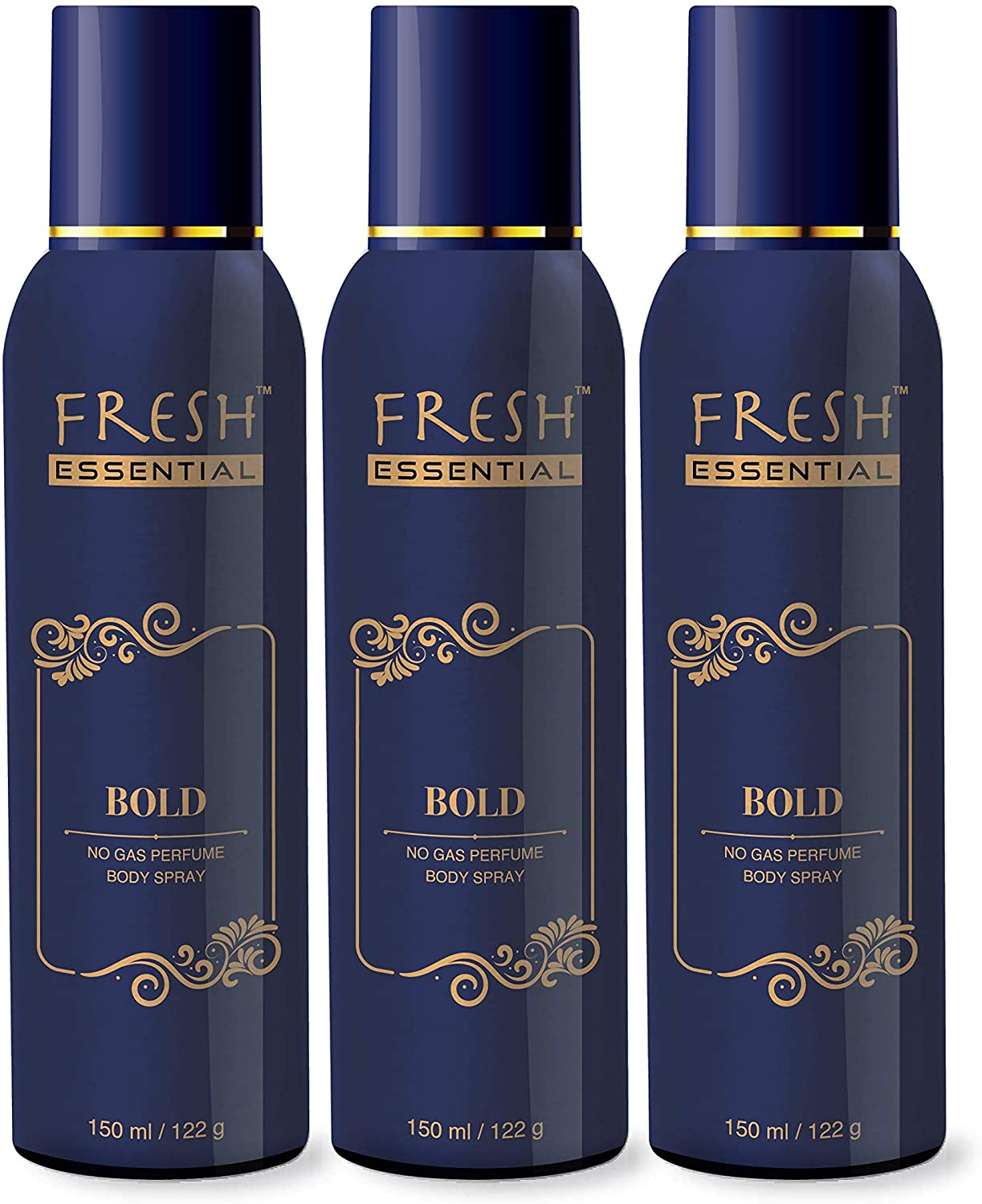 Fresh Essential No Gas Deodorant, 150 ml (Desire, Ignite, Bold - Pack of 3)