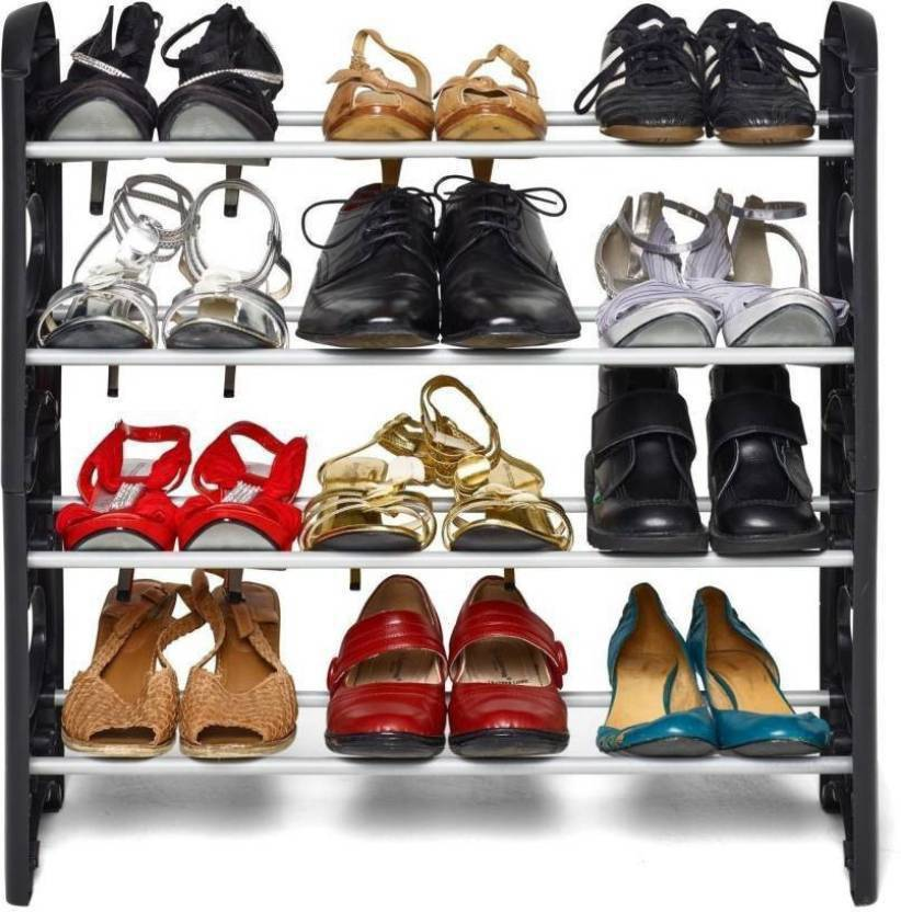 Global Bazarro Plastic Collapsible 4 Shelves Shoe Stand
