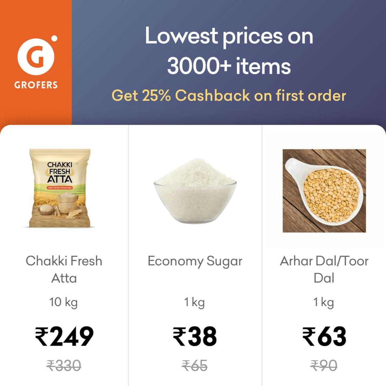 Grofers - First Order Flat 25% Cashback + Burn Mobikwik Supercash