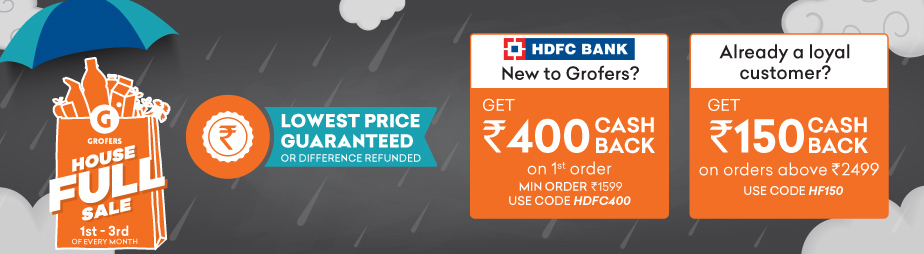 Grofers - Flat Rs.400 Cashback On First Order With HDFC Cards