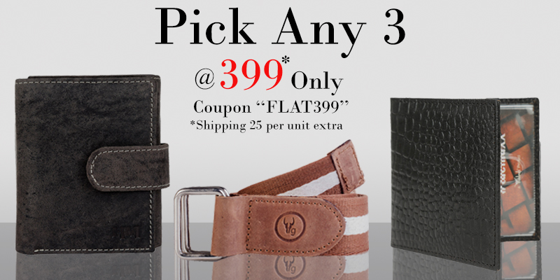 Hidekraft - Buy any 3 Leather Wallets Only for Rs.399