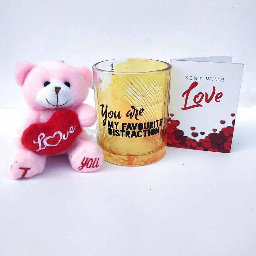 Hot Muggs with Teddy and Card Glass Mug  (350 ml) @ Rs.129