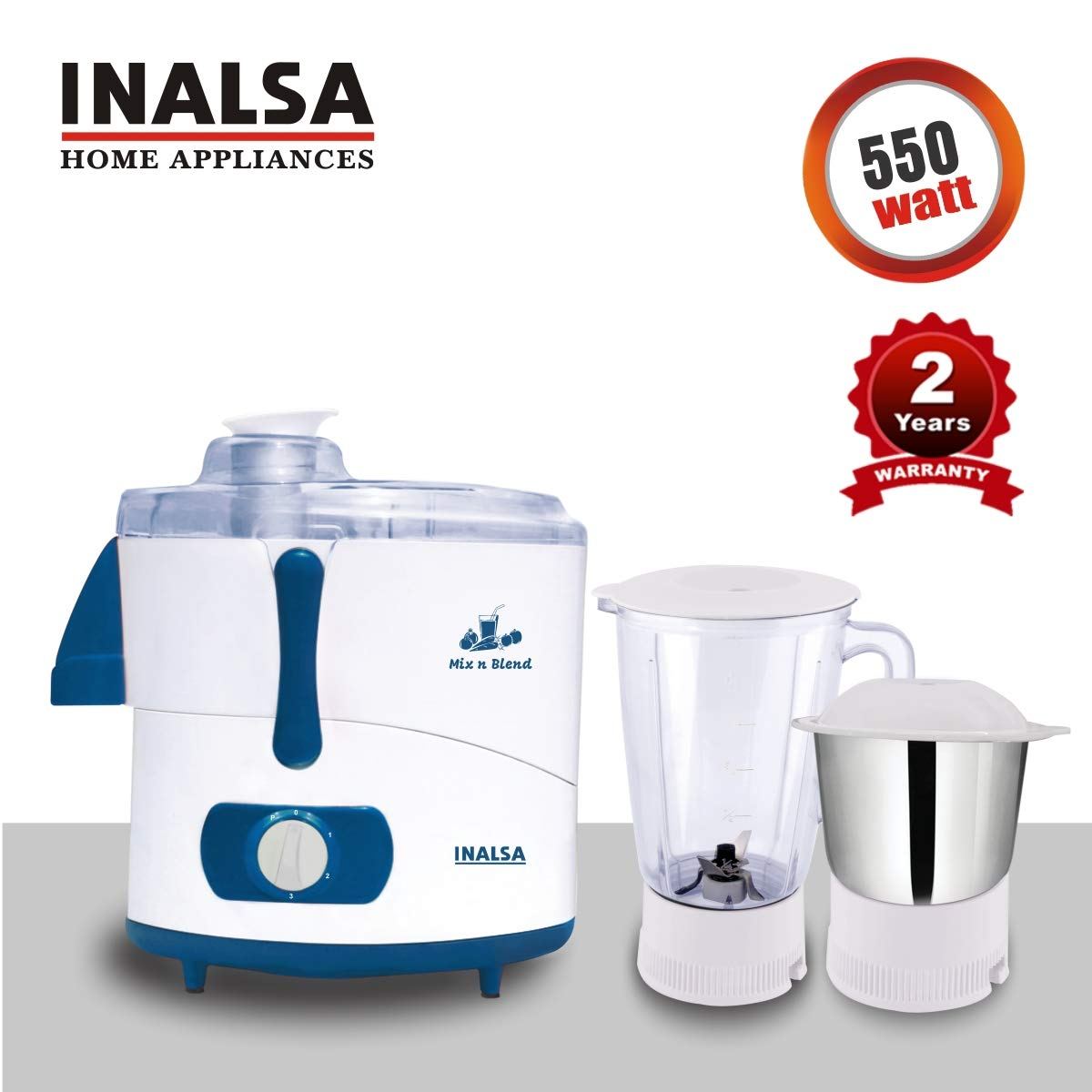 INALSA Juicer Mixer Grinder MIX N BLEND - 550W With 2 Years Warranty