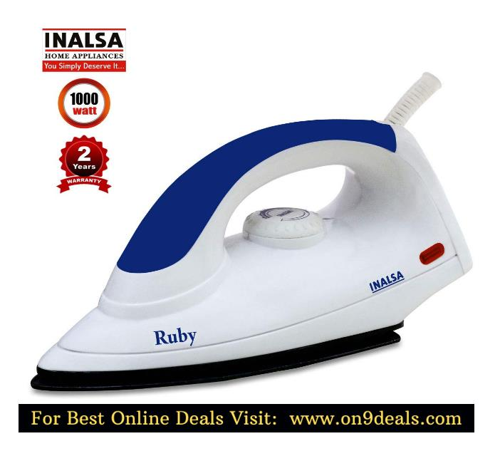Inalsa Ruby 1000-Watt Dry Iron With 2 Years Warranty