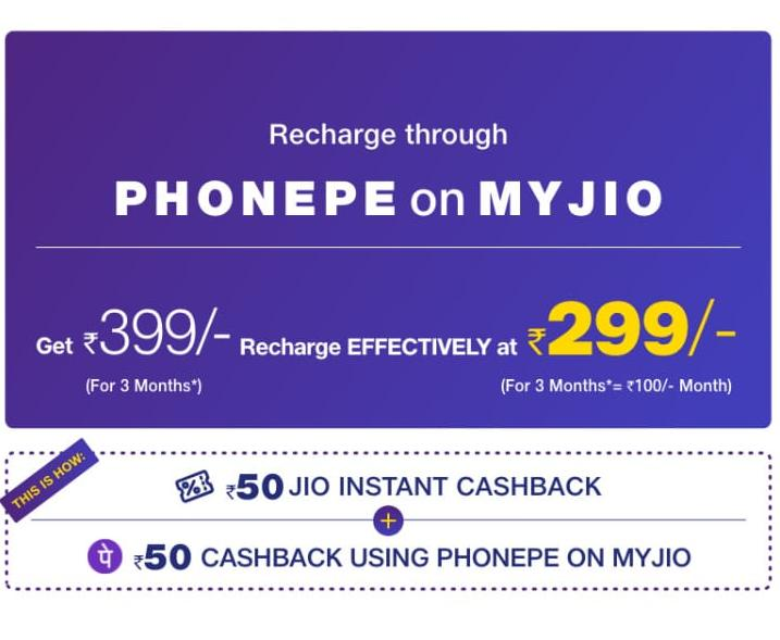 Jio 3 Months Plan Recharge of Rs.399 at Rs.299 Using Phonepe Wallet