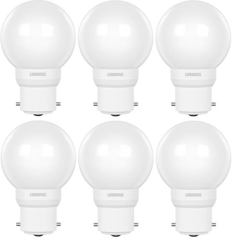 Luminous 0.5 W Round B22 D LED Bulb  (White, Pack of 6)