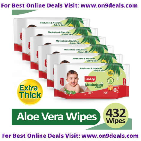 LuvLap Paraben Free Extra Thick Baby Wipes with Aloe Vera (72 Wipes/Pack, Pack of 6)