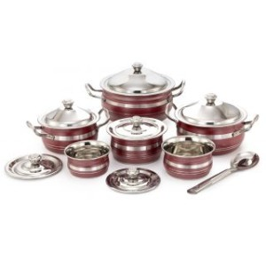 MAHAVIR 13PC STAINLESS STEEL COLOR COOK N SERVE SET
