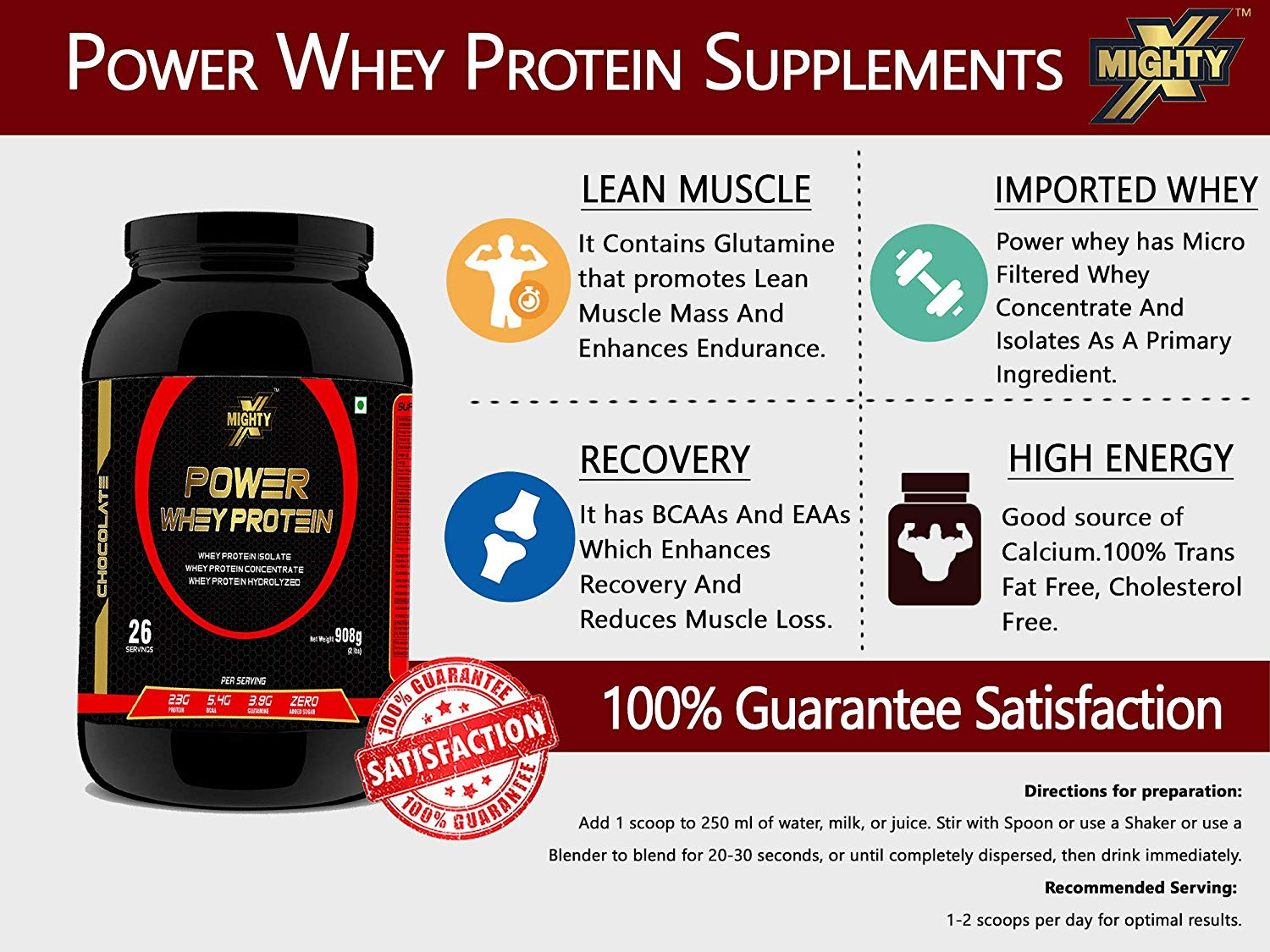 Mightyx Power Whey Protein - Chocolate, 2 Lb, 30 Servings