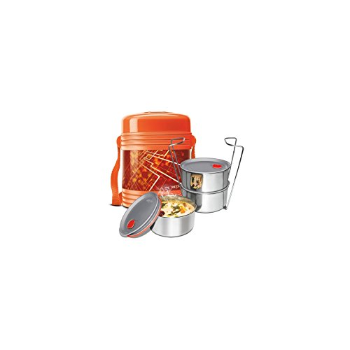 Milton Vector Deluxe 2 Plastic Leak Lock Tiffin Box Set, 3-Pieces