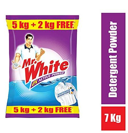 Mr. White Detergent powder - 5 kg with Free Detergent powder - 2 kg