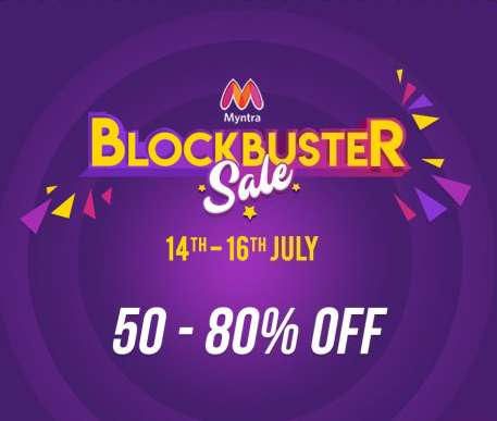 Myntra Blockbuster Sale 14th to 16th July +10% Cashback