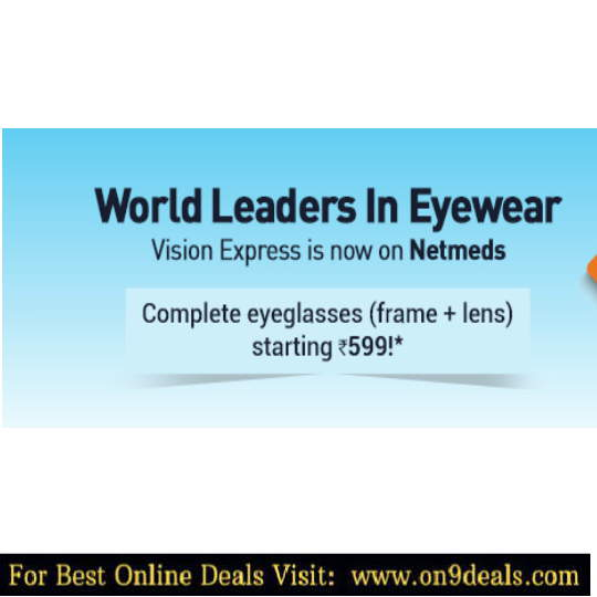 Netmeds - Complete Eyeglasses ( Frame + Lens ) Starting Rs.599 + Amazon Cashback