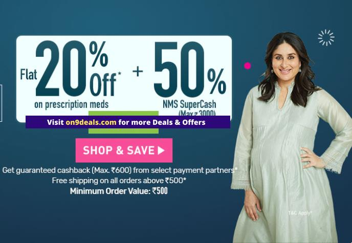 Netmeds - Get Flat 20% OFF on Medicines + 50% NMS SuperCash