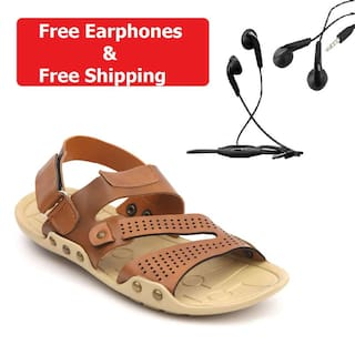 Nexa Men's Tan Sandals + Free Wired Earphones @ Rs.99 After Cashback