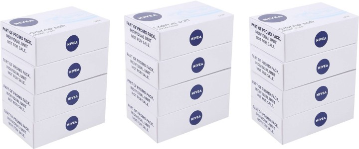 Nivea creme soft soap (125gm x 4) (Pack of 3) Total 12 Soaps
