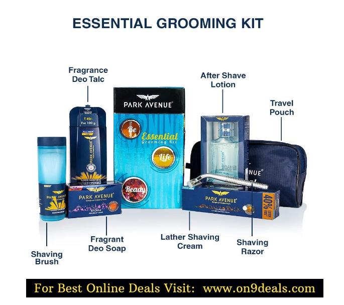 Park Avenue Essential Grooming Kit for Men with Free Travel Pouch Inside