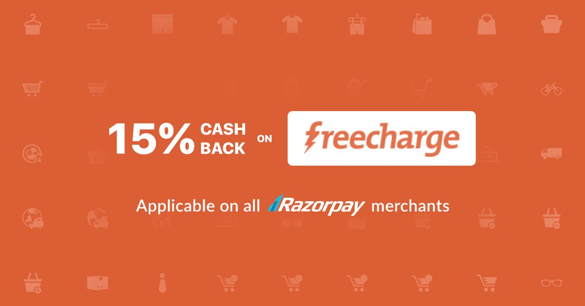 Pay Using FreeCharge Wallet on all Razorpay partners via Razorpay and get 15% Cashback