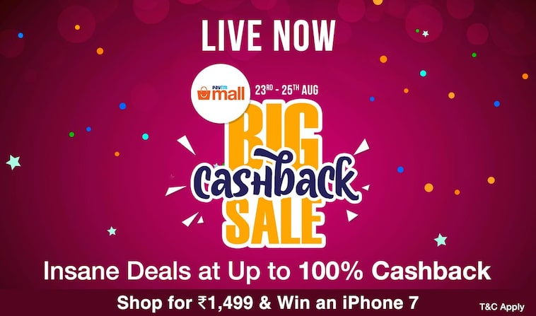 Paytm - The Big Cashback Sale Upto 100% Cashback
